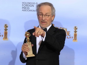 """Director Steven Spielberg poses backstage after winning the award for best animated feature film for """"The Adventures of Tintin"""" at the 69th annual Golden Globe Awards in Beverly Hills, California, January 15, 2012. REUTERS/Lucy Nicholson (UNITED STATES - Tags: ENTERTAINMENT) (GOLDENGLOBES-BACKSTAGE) - RTR2WCLL"""