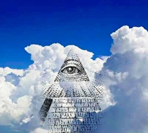 All seeing eye in clouds